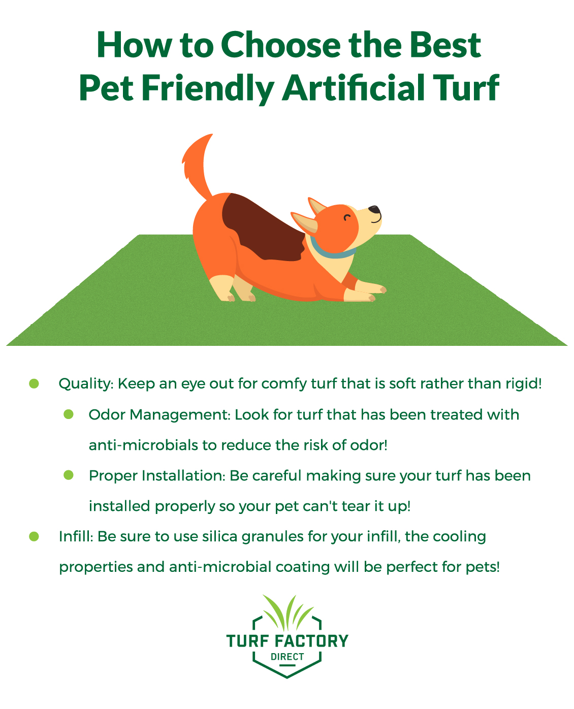 Artificial turf is a soft and comfortable alternative to natural grass that your pets will love. Invest in odor-free turf today